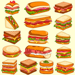 Photo sur Aluminium Snack Different variety of fresh and tasty Sandwiches and Burgers