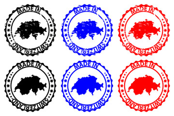 Made in Switzerland - rubber stamp - vector, Switzerland map pattern - black, blue and red