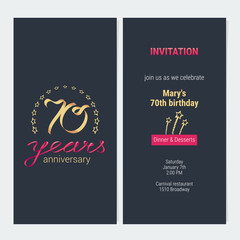 70 years anniversary invitation vector