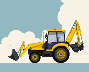 Big yellow excavator, sky with clouds in background. Banner layout with earth mover. Vintage color stylization. Construction machinery vehicle and ground works. Flatten illustration master vector.