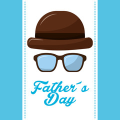 vintage hat and glasses for happy fathers day vector illustration