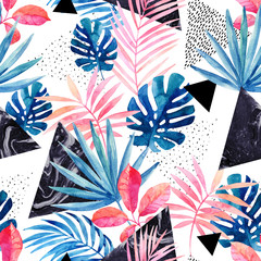 Photo sur Plexiglas Empreintes Graphiques Modern art illustration with tropical leaves, grunge, marbling textures, doodles, geometric, minimal elements.