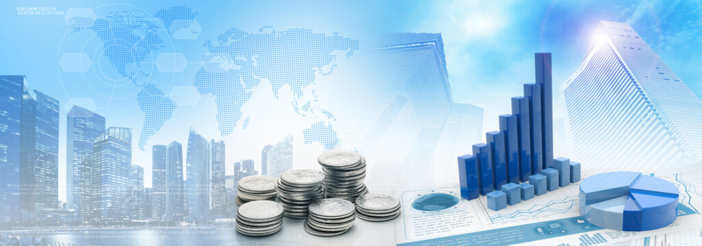 coins and charts in cityscape blue background
