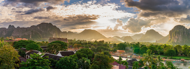 Landscape view panorama at Sunset in Vang Vieng, Laos.