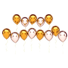 Gold and white metallic balloons arranged two row on the center with long golden rbbons isolated on white background. 3D illustration of holidays, party, birthday balloons