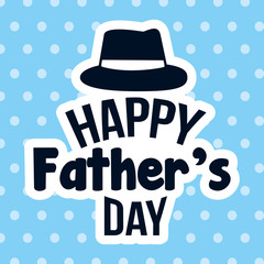 happy fathers day lettering hat with dotted background vector illustration