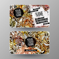 Cartoon graphics watercolor vector hand drawn doodles Mexican food id cards design