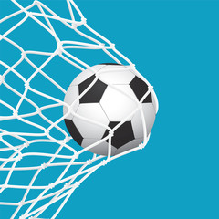 Football / Soccer Goal. Ball in Net on Blue Background.