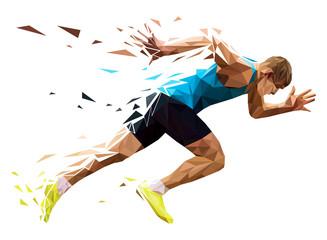 runner sprinter explosive start in running. polygonal particles