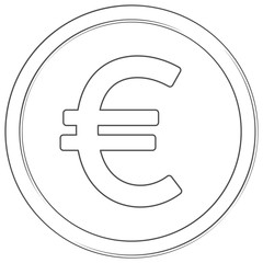 Vector euro sign. Lineart icon. Thin line illustration on white background