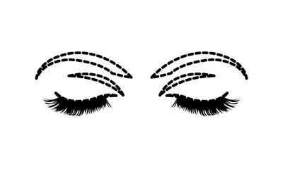 dotted shape woman closed eyes with eyelashes and eyebrows