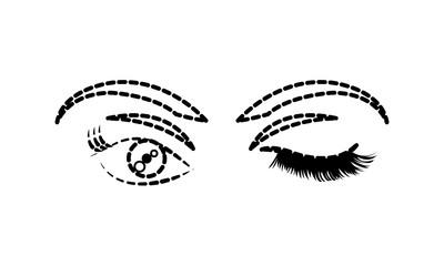 dotted shape woman stinging eye with eyebrows and eyelashes