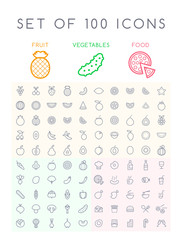 Set of 100 Isolated Minimal Modern Simple Elegant White Stroke Icons ( Fruits , Vegetables and other Food )