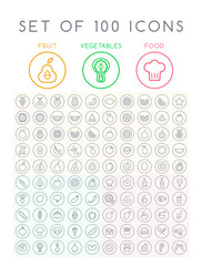 Set of 100 Minimal Universal Modern Elegant Black Thin Line Icons on Circular Buttons ( Vegetables fruits and Food ) on White Background