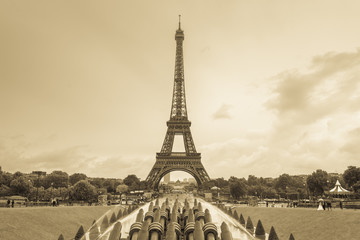 Eiffel tower, Paris, France. Sepia monochrome tone