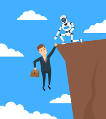 robot helping to businessman hanging on cliff