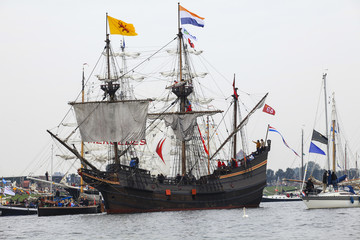 Historic sailing boat in Sail festival Amsterdam Holland