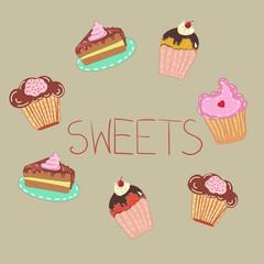 Cute tiny cakes for decoration postcard, cafe menu, kid celebration