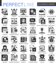 Vector Economics market black mini concept icons and infographic symbols set