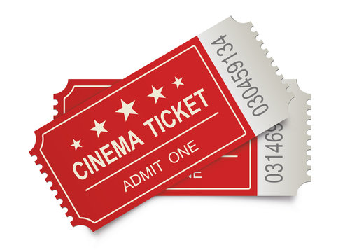 Two realistic cinema tickets on the white backgraund. Vector