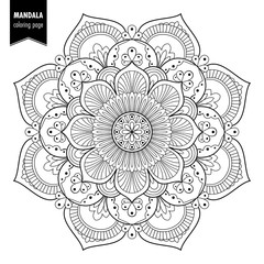 92c48fdf39 Monochrome ethnic mandala design. Anti-stress coloring page for adults.  Hand drawn vector