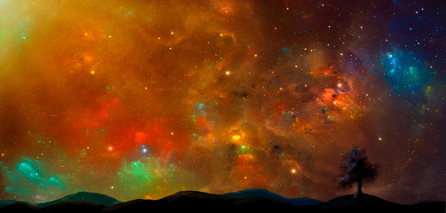 Space scene.Colorful nebula with land and tree silhouette. Elements furnished by NASA. 3D rendering