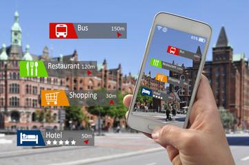 Smartphone Handy mit augmented reality erweiterte realität