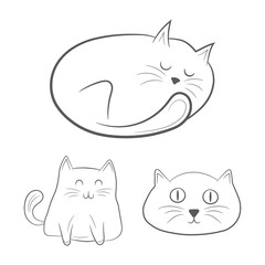 Hand drawn cats. Vector illustration.