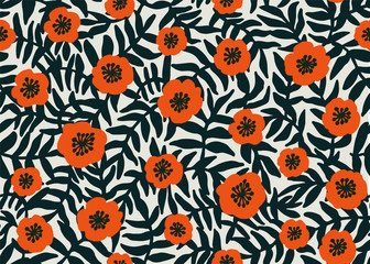Seamless Floral Pattern. retro style Red poppies pattern with poppy flowers and dark green foliage on beige. Floral seamless background for textile, fabric, covers, wallpapers, print, gift wrap