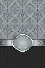 Wall Mural - Retro background with silver border and vintage ornament.