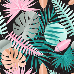 Paper palm, monstera leaves seamless pattern. Summer tropical leaf. Geometric backdrop. Origami exotic hawaiian jungle, summertime background in pastel colors
