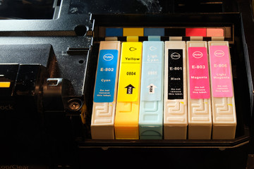 Third party computer printer ink cartridges in position.