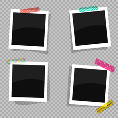Set of antique photo frames with an ornamental adhesive tape. Vector illustration EPS10. White photo frames