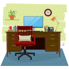 Stylized and cozy home office scene. Wooden desk and chair with with computer and office supplies, lamp, houseplant and clock. Flat style with perspective, minimal detail, texture and shadow.