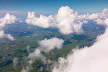 View of a cumulus clouds from above