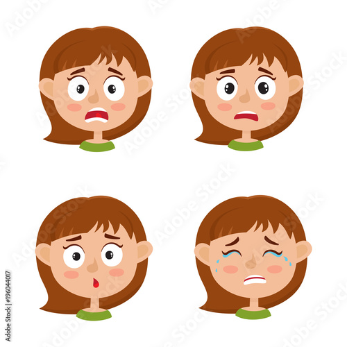 little girl scared face expression, set of cartoon vector