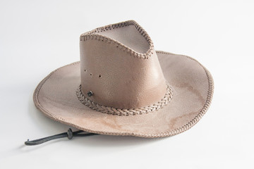 Brown cowboy hat use in farm
