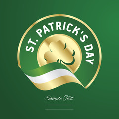 St Patricks Day gold Clover green flag ribbon background