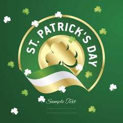 St Patricks Day gold green Clovers flag ribbon background