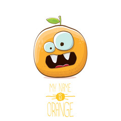 vector funny cartoon cute orange character isolated on white background. My name is orange vector concept. super funky citrus fruit summer food character