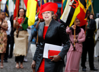Britain's Prime Minister Theresa May leaves after attending the Commonwealth Service at Westminster Abbey in London
