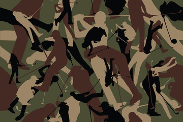 vector background of seamless soldier woodland green golf camo pattern