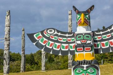 old traditional wooden totem masks