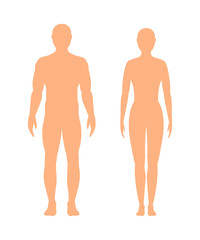 Male and female silhouette on white background, vector.