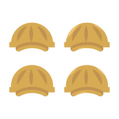 set of vector plastic construction yellow hard hat with visors isolated on white background
