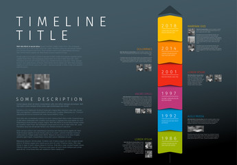 Colorful Stacked Boxes Timeline Infographic Layout on Dark Background
