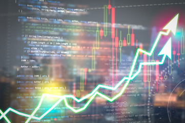 Software development. Programming code abstract technology background and Stock market digital graph chart on LED display concept. Indicator financial forex education development coding code program.