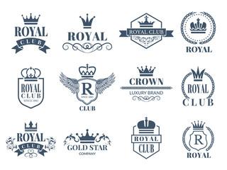 Royal and luxury badges set