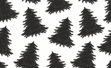 Seamless pattern with Christmas trees. black and white