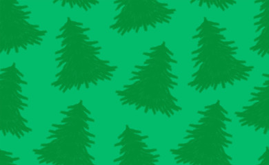 Seamless pattern with Christmas trees. isolated on green background